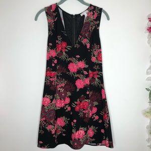 Leith black w/ pink floral print sleeveless dress